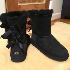 UGG black suede double bow boots
